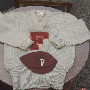 Vintage Letterman Sweater & Hat